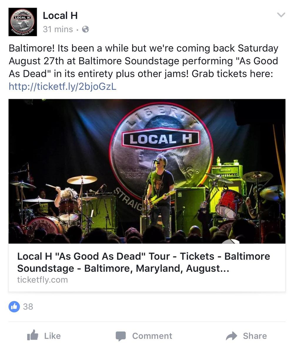 Local H Tour Promotion, Summer 2016