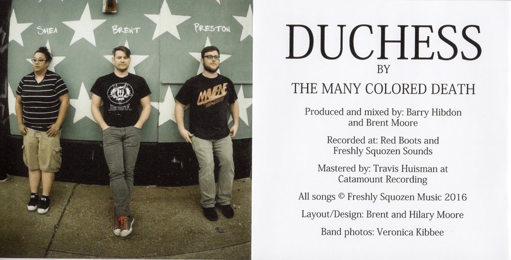 Inner sleeve of The Many Colored Death's 2016 release of Duchess