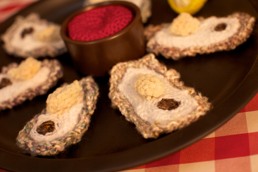 Crocheted Oysters on the Half Shell
