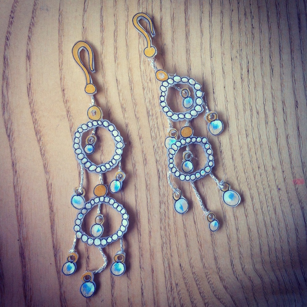 Gold and pearl chandelier earrings that I wore on my wedding day. I bought them with my friend Cayce in Los Angeles and they were the first (and only) piece of fancy jewelry I have ever purchased for myself. This shrinky dink version is now kept safe and sound in the Secret Wall Safe.