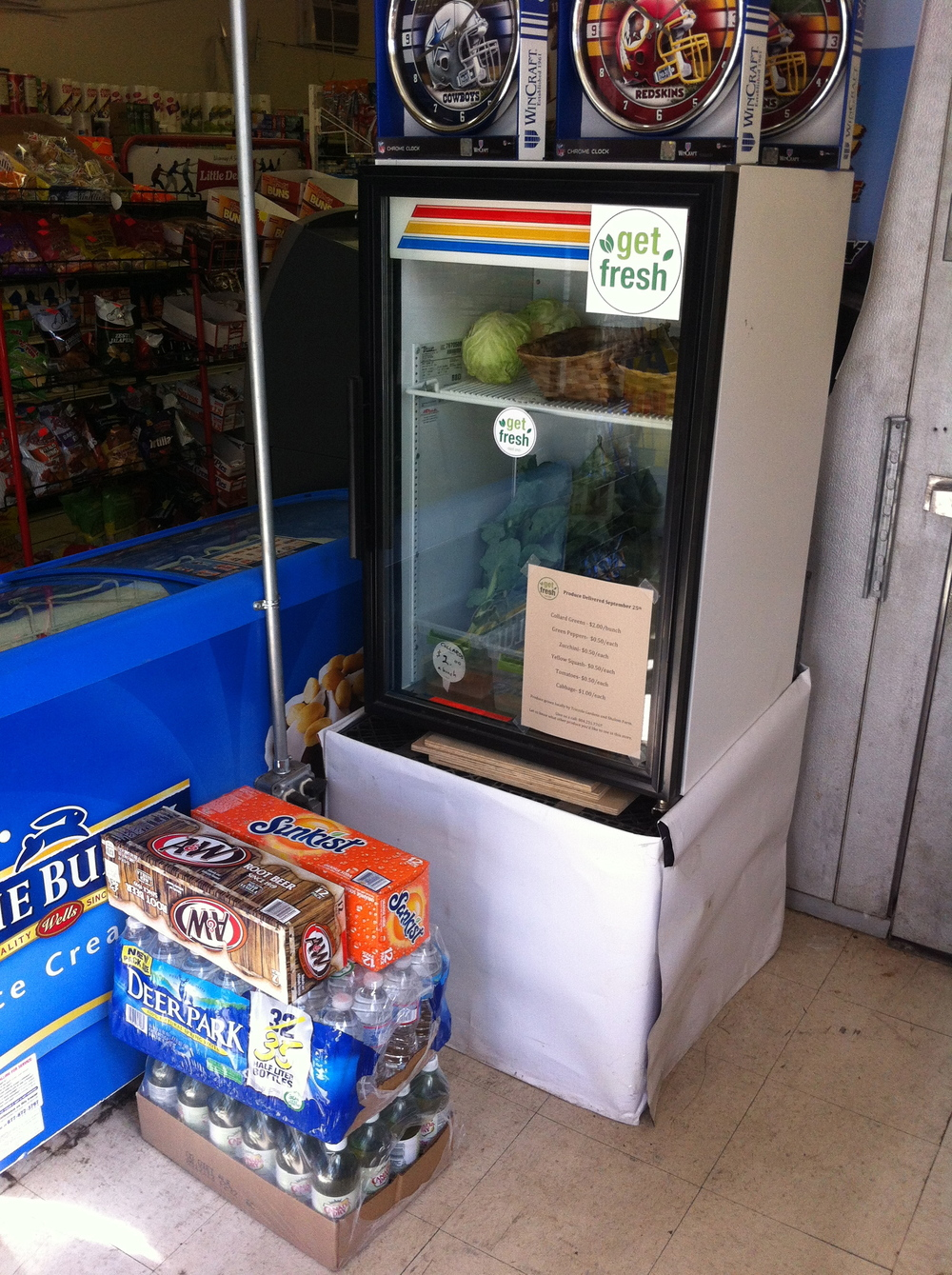 fresh produce on display in Church Hill convenience store