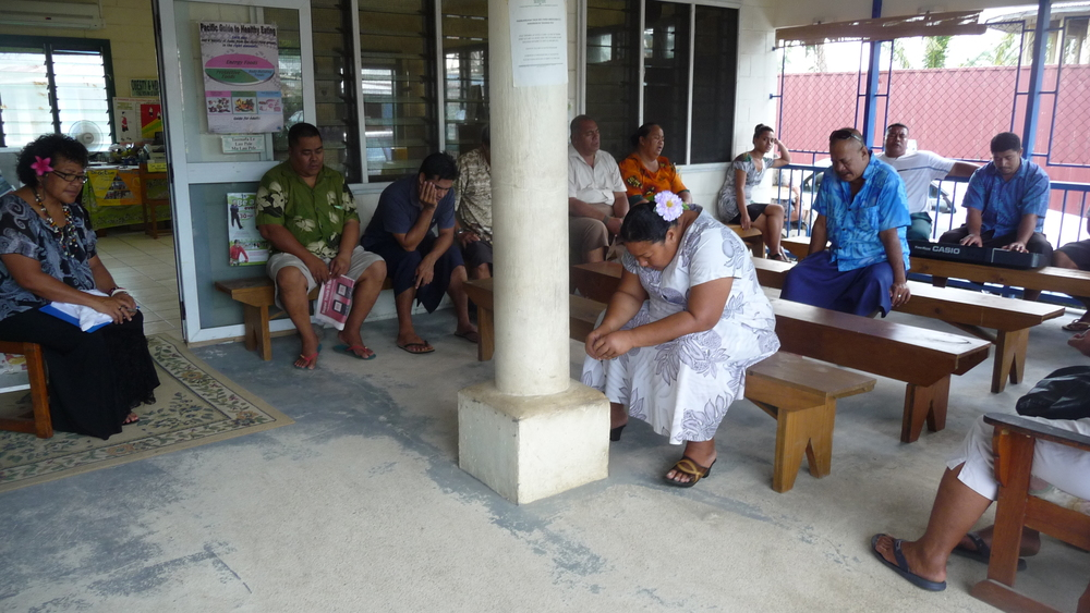 Morning prayers at a diabetes clinic, 2011.
