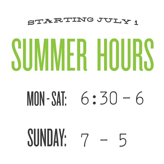 Summer Hours Are Upon Us! ☀ ☕ 🍺🚣🏻 🚴🏻