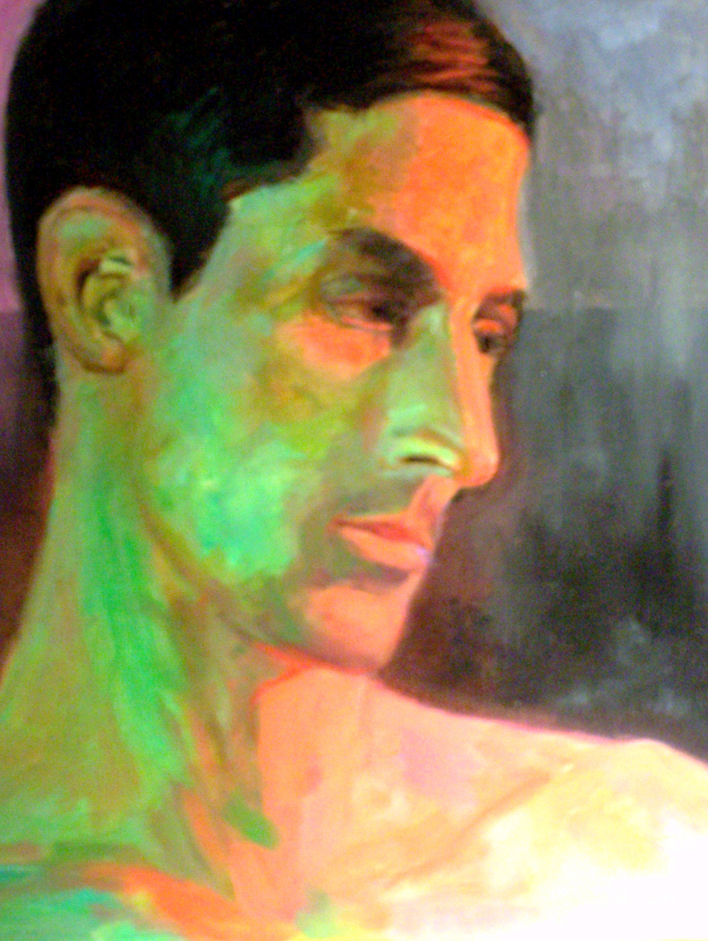 Head in Green Light Acrylic paint on canvas board 9x12""