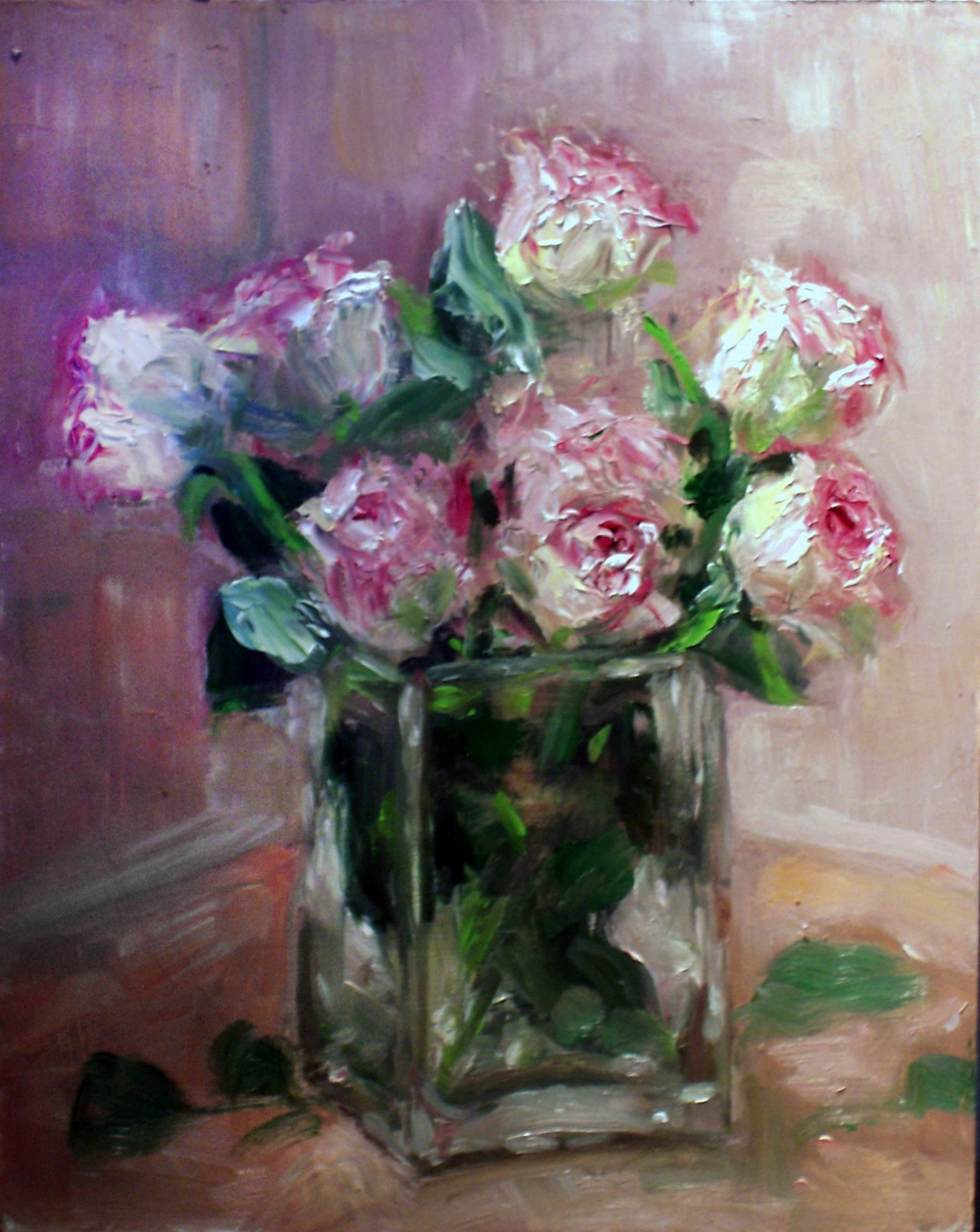 Pink Roses in Pink Room  Oil paint on masonite board 8x10""