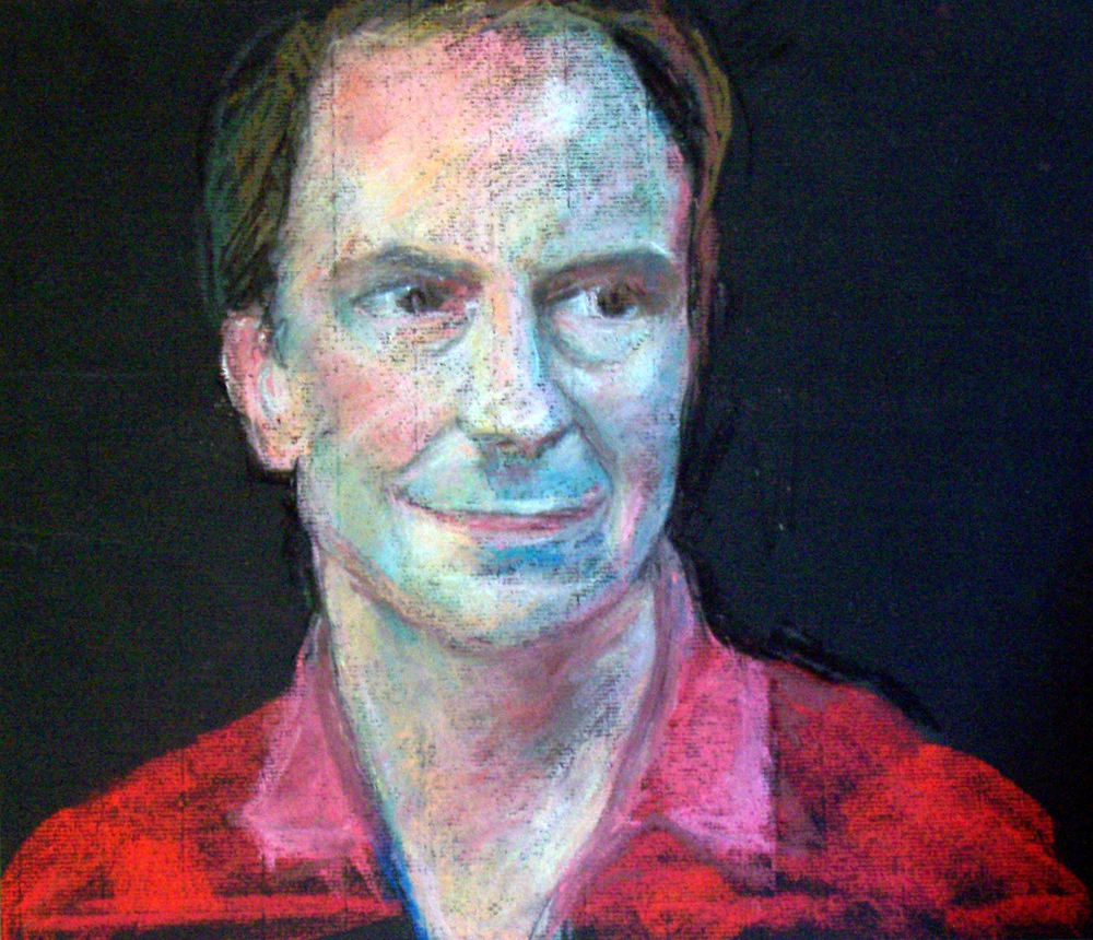 Man in Red Shirt Pastel on paper 11x14""