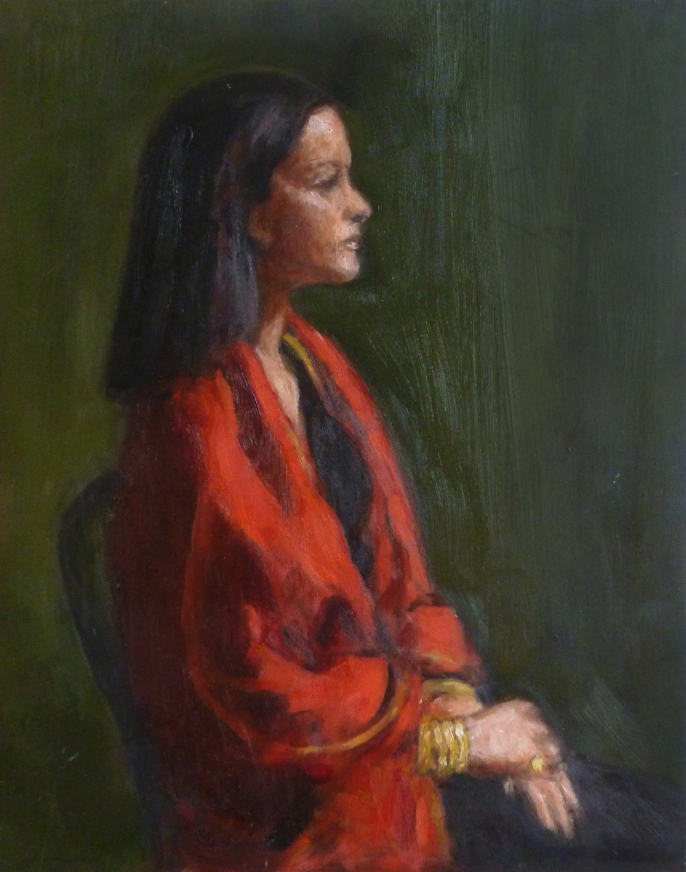 Red Shawl   Oil paint on masonite board 9x12""