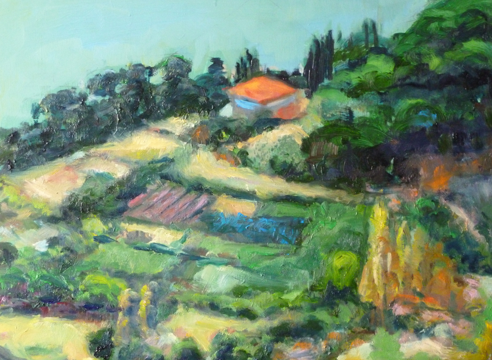 Mediterranean Landscape  Oil on masonite board 9x12""