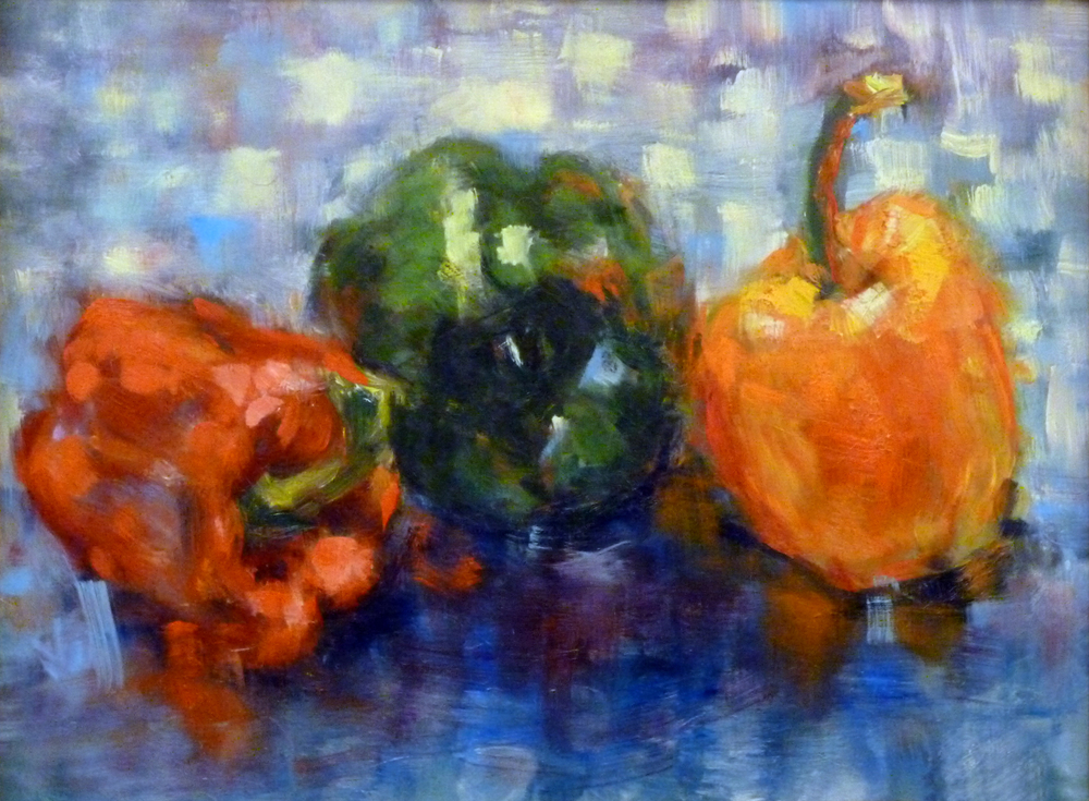 Green Pepper and Friends    Oil paint on canvas board 8x12""