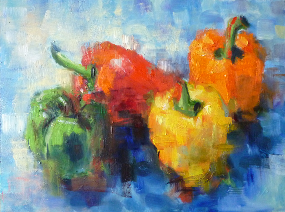 Study of Peppers  Oil paint on canvas board  12x18""