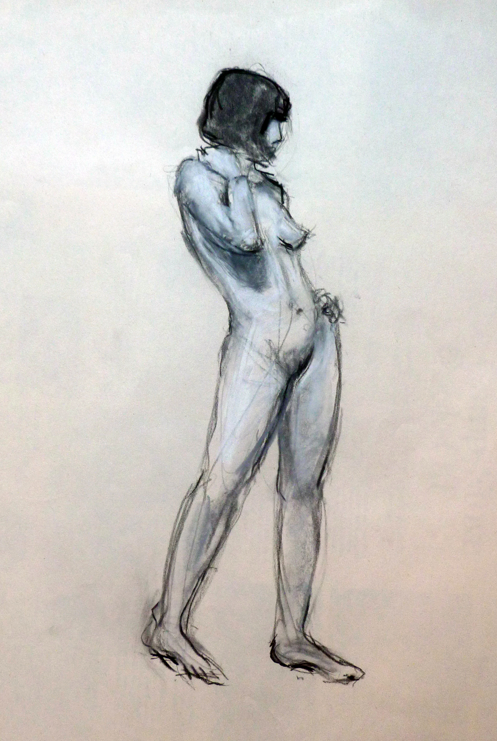 Standing Nude  Charcoal and chalk on paper 9x12""