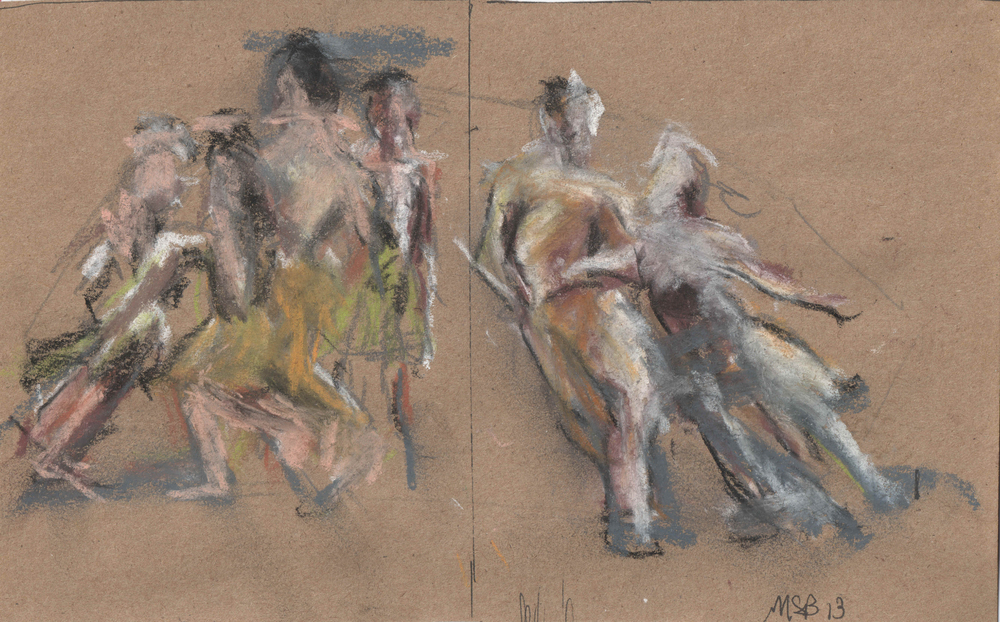 "Dancers #5 Pastel on paper 8x5.5"""
