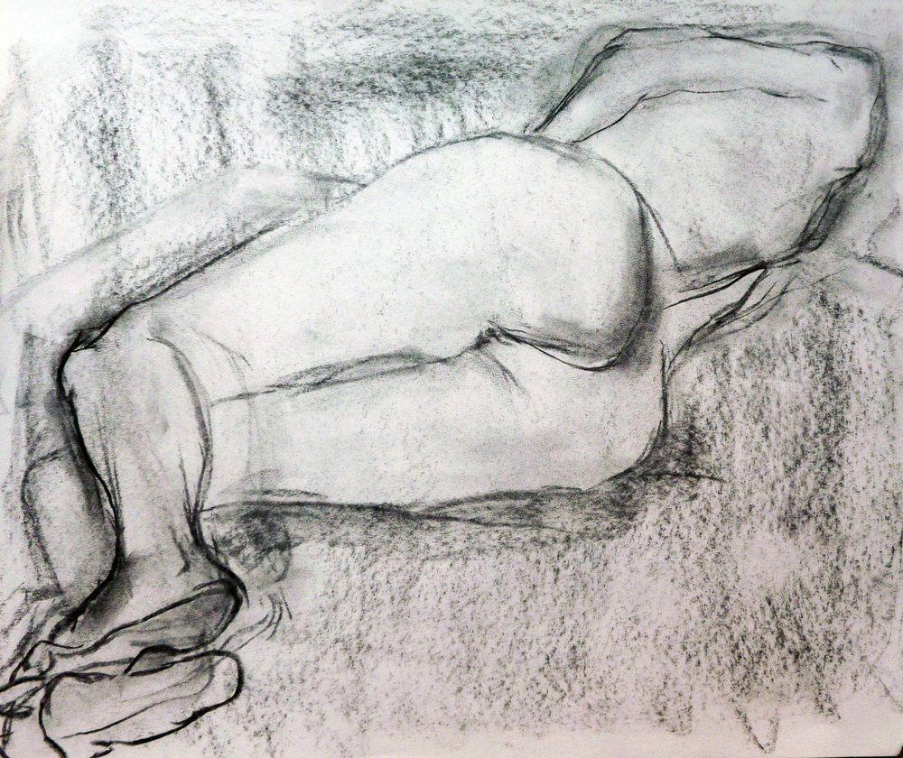 Foreshorten Nude  Charcoal and Pencil on paper 9x12""