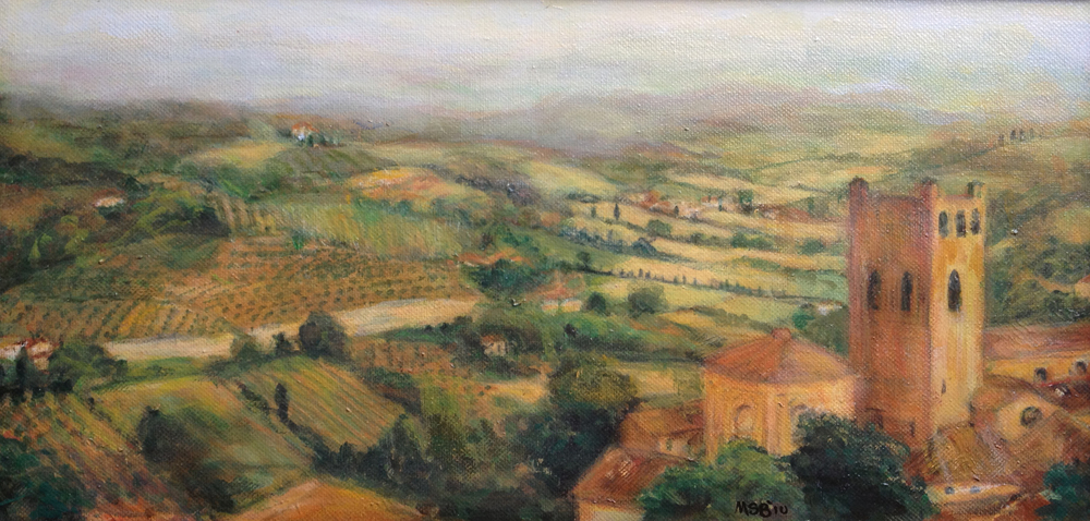 Tuscan Village  Oil paint on canvas 15.5x7.5""