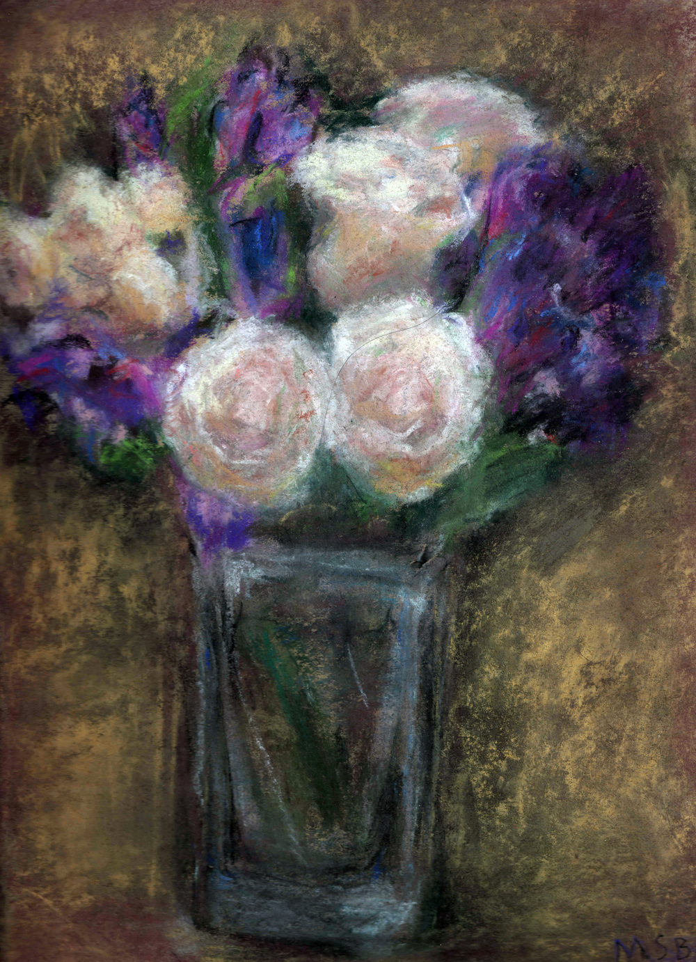 Irises and Roses   Pastel on paper 9x12""