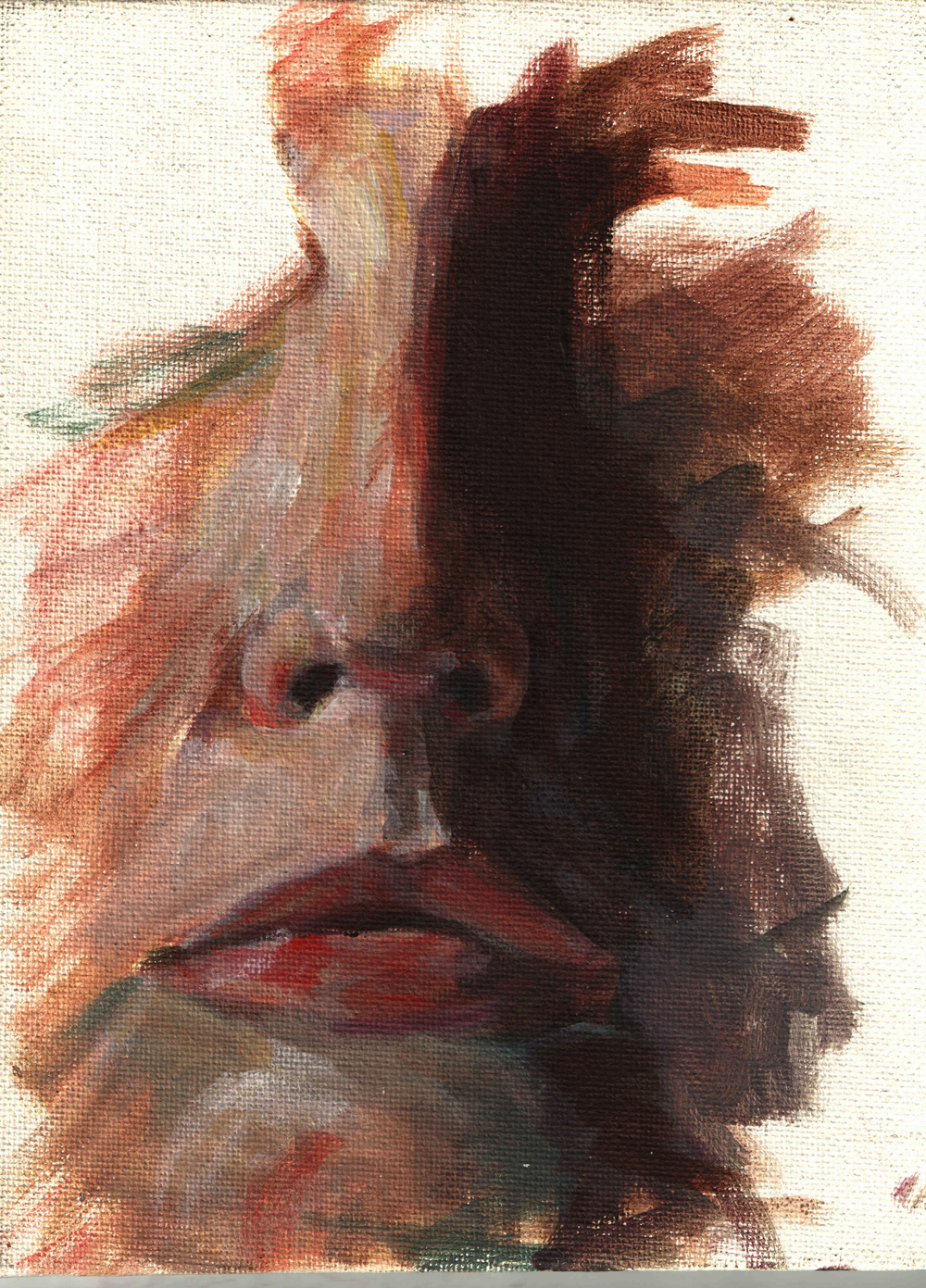 Self Portrait Abstract  Oil paint on canvas board 6x8""