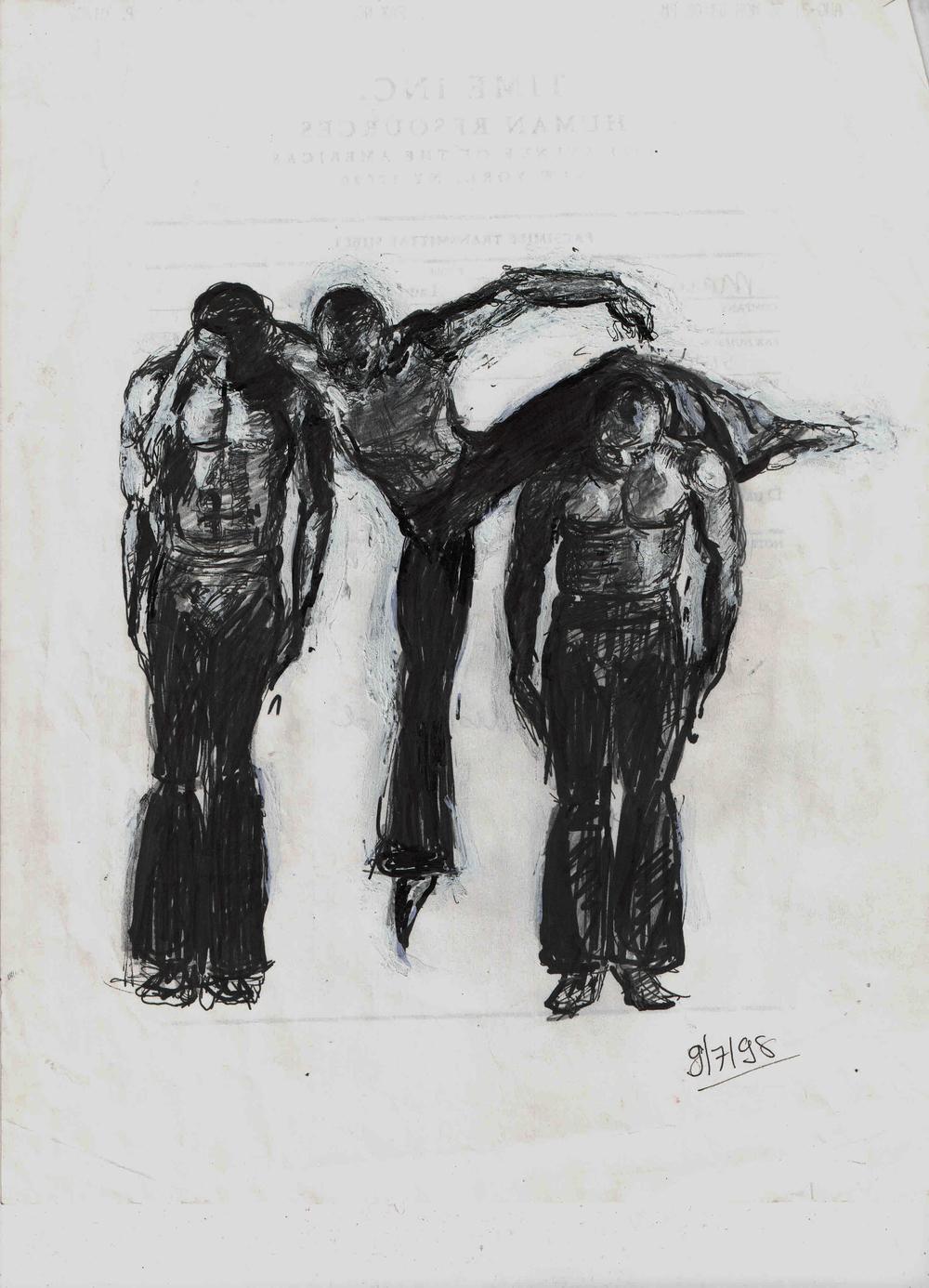 "Three Dancers Pen on paper 8x12"""
