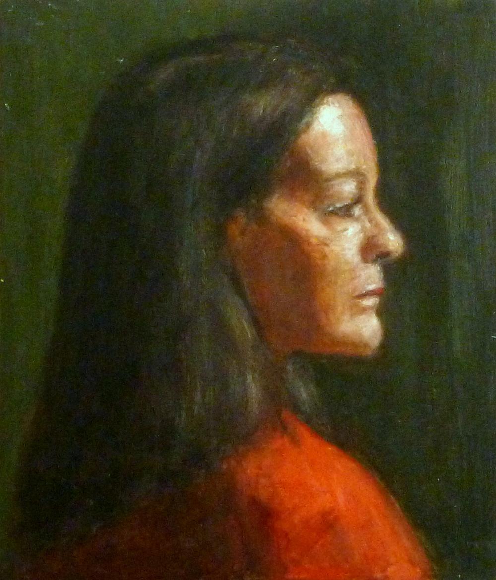"Francesca   Oil paint on masonite board  9x12"""