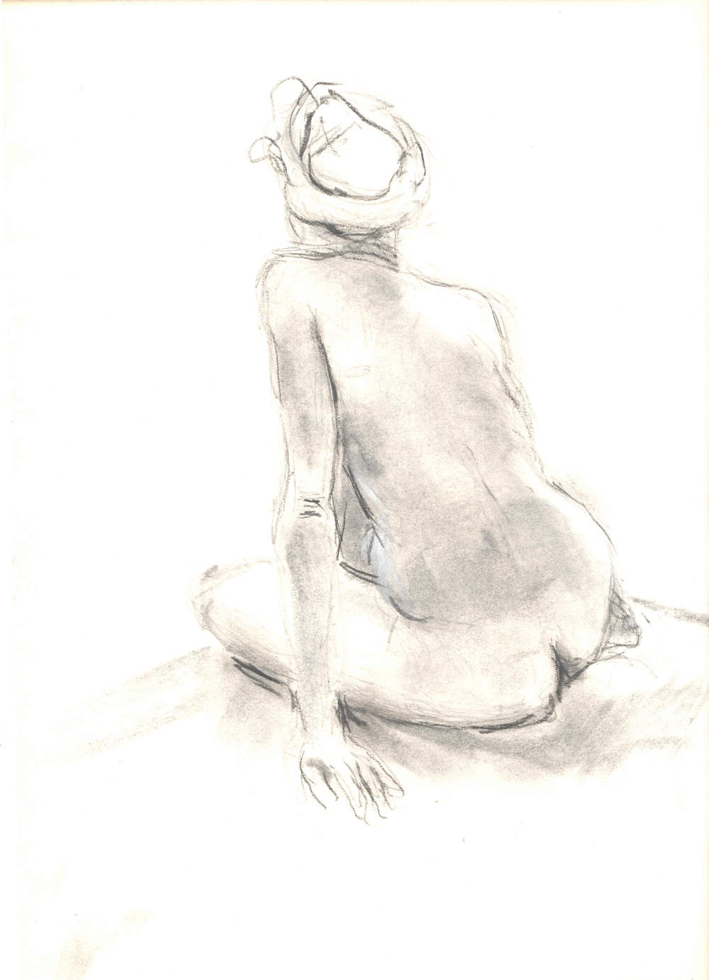 Nude with Turban  Charcoal and pencil on paper 9x12""