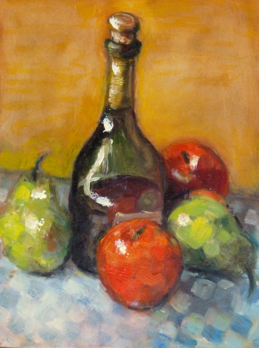 Fruit Checks   Oil on Masonite  9x12""