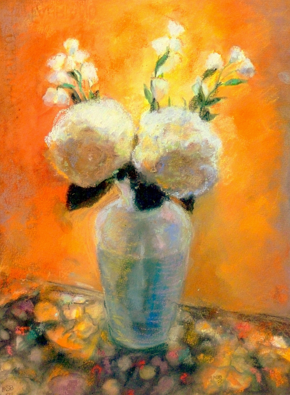 "White Hydrangea  Pastel on Paper  11.5"" x 15"""