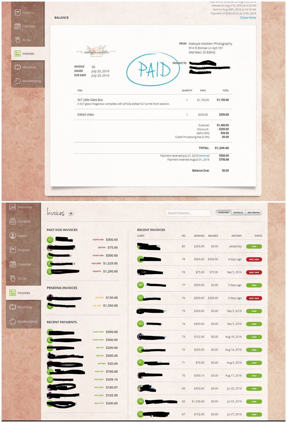 "Once a client has confirmed they want to book, I create an invoice for their sitting fee. I love the template feature on 17hats for everything! I literally press 2 buttons and all the info is ready to go on the invoice- The session fee, the description of what's included, the price, etc. The client's info and my info is all on there so they can easily know where to send me a check should they choose to. And when they pay online, I have my bank account hooked up to square, so the money is deposited straight into my account within a couple days!   You can also track which invoices are pending, past due, and paid for in the ""invoices"" section. A great way to check out what is coming up for payment (and as a mood booster to see how much you are kicking butt!)"