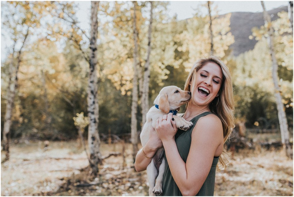 Boise Senior Photographer Makayla Madden Photography Senior Girl Puppy Fun Fall Cute Inspiration Candid Moment Mountains Aspen Trees Laughter Cole Valley Christian Miriam Edes