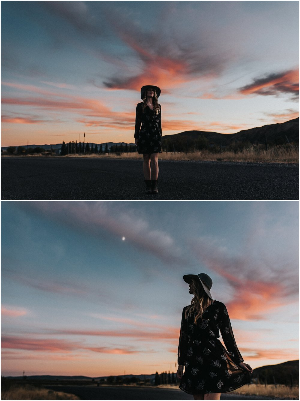Makayla Madden Photography Boise Senior Photographer Idaho Fairfield Wheat Field Floppy Hat Senior Girl Outfit Ideas and Inspiration Miriam Sunset Wanderlust
