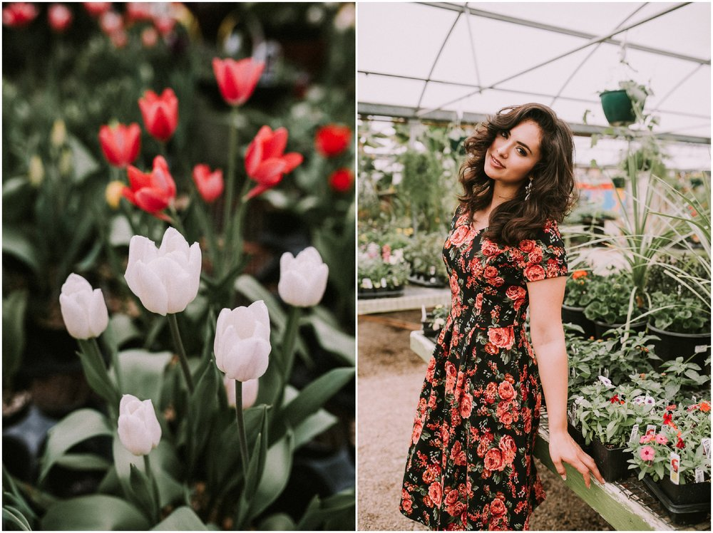 Boise senior photographer Edwards Greenhouse Boise Idaho spring senior pictures floral dresses