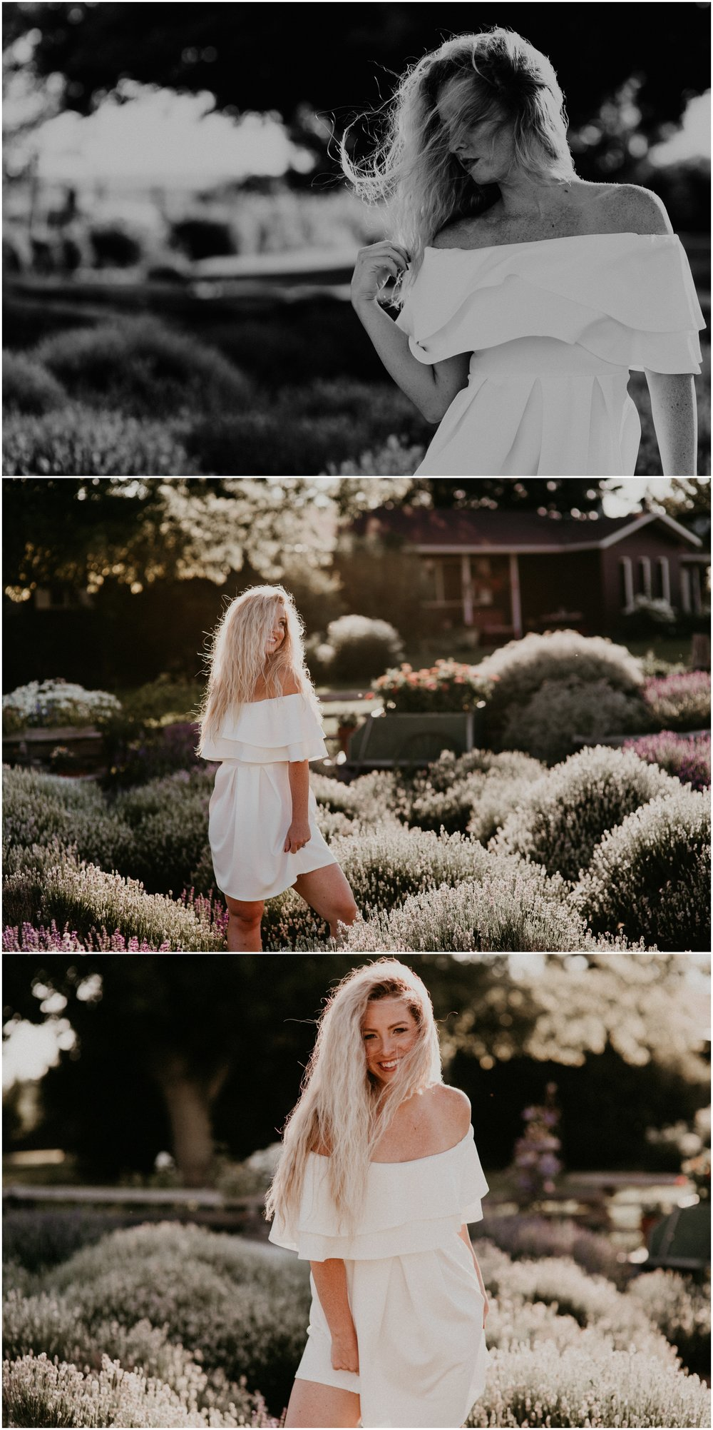 Makayla Madden Photography Boise Idaho Senior Boudoir Wedding Photographer Kuna Idaho Lavender Field Merchant Portrait Session Dreamy Golden Hour Kuna