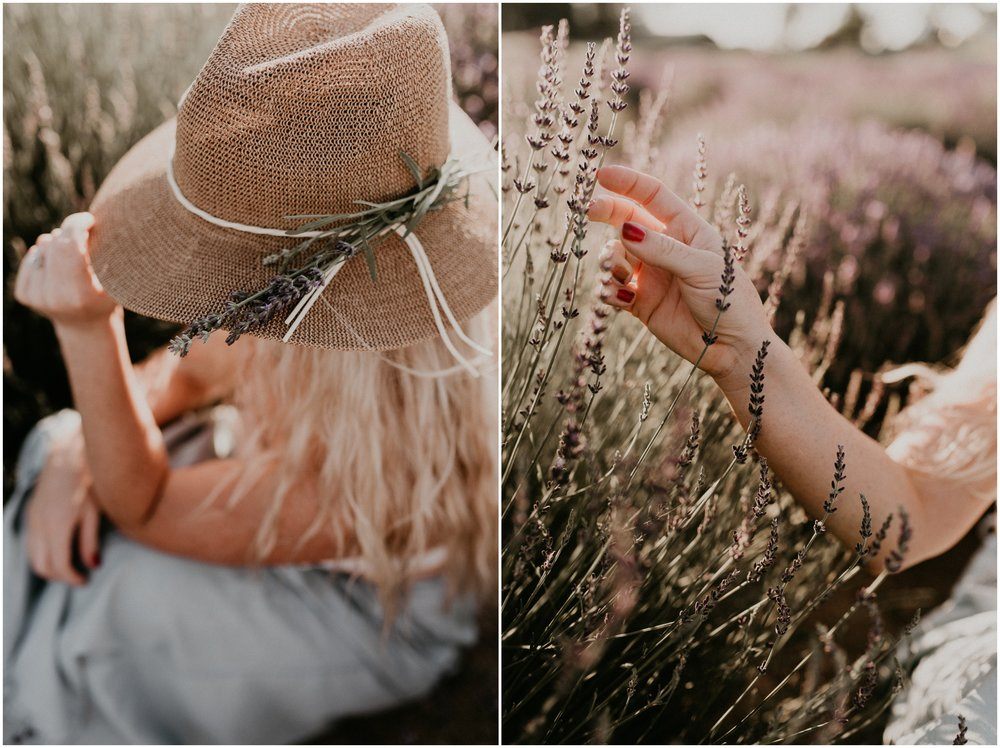 Makayla Madden Photography Boise Idaho Senior Boudoir Wedding Photographer Kuna Idaho Lavender Field Merchant Portrait Session Dreamy Golden Hour  Summer