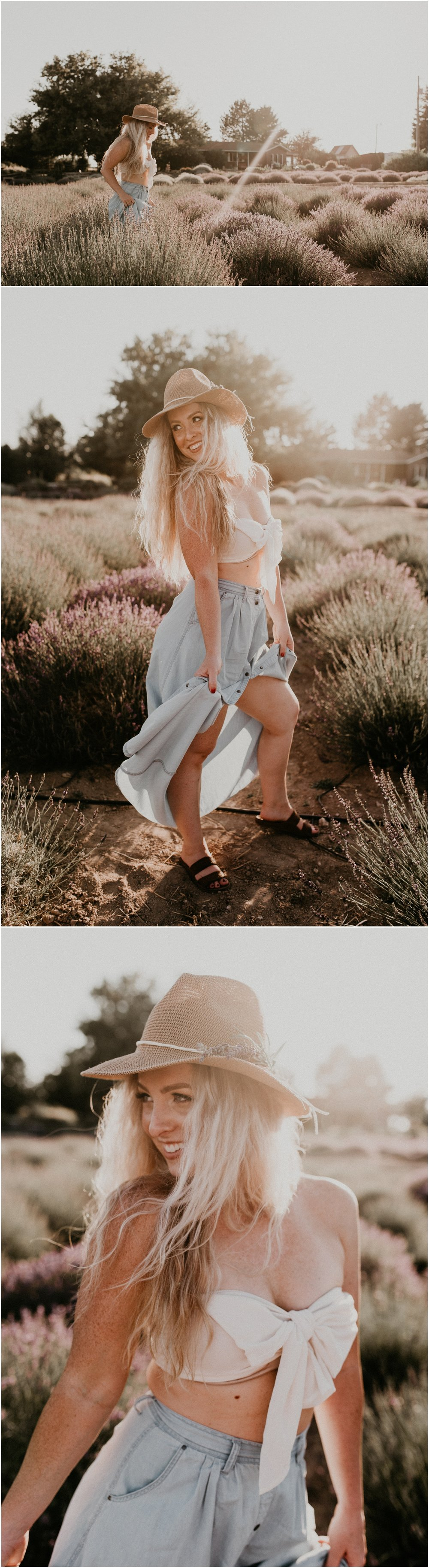 Makayla Madden Photography Boise Idaho Senior Boudoir Wedding Photographer Kuna Idaho Lavender Field Merchant Portrait Session Dreamy Golden Hour