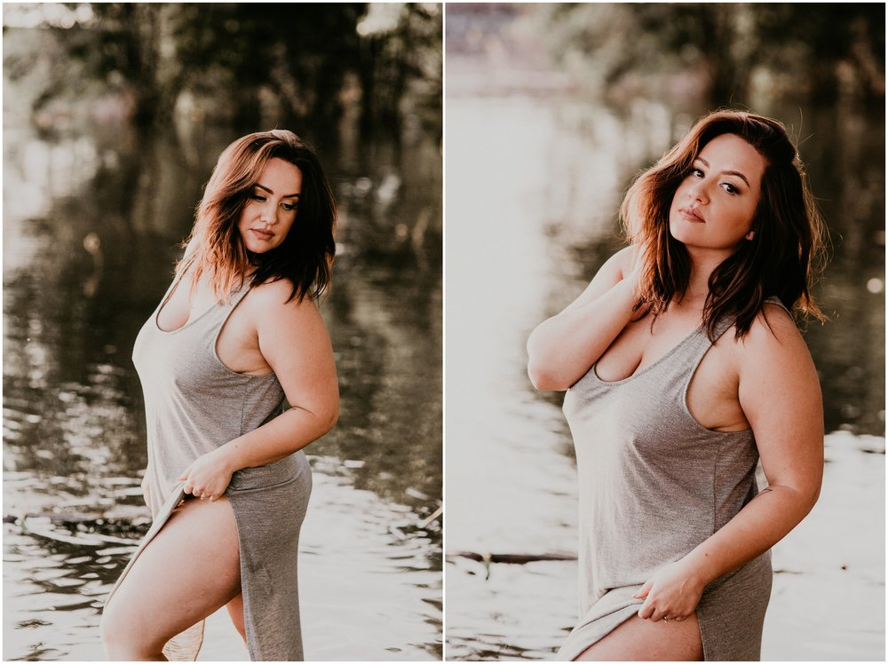 Makayla Madden Photography Boise Idaho Outdoor Boudoir Photographer Boudoir Inspiration Oregon Boudoir Photographer Hipster Boise Hair Makeup Artist Water Lake Boudoir Inspiration