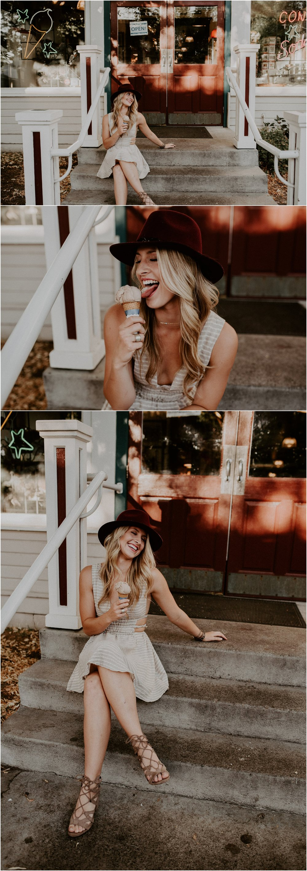 Boise Senior Photographer Makayla Madden Photography Downtown Icecream Cone Laughter Styling Boho Idaho Hyde Park Goodys Candy Shop Senior Outfit Ideas Swank Boutique Unique