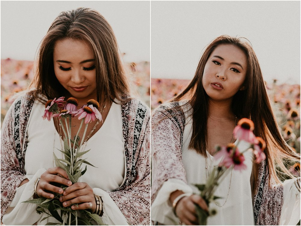 Boise Senior Photographer Makayla Madden Photography Wildflower Field Purple Boho Free Spirit Senior Pictures Gypsy Unique Fun Idaho Meridian Raw Real