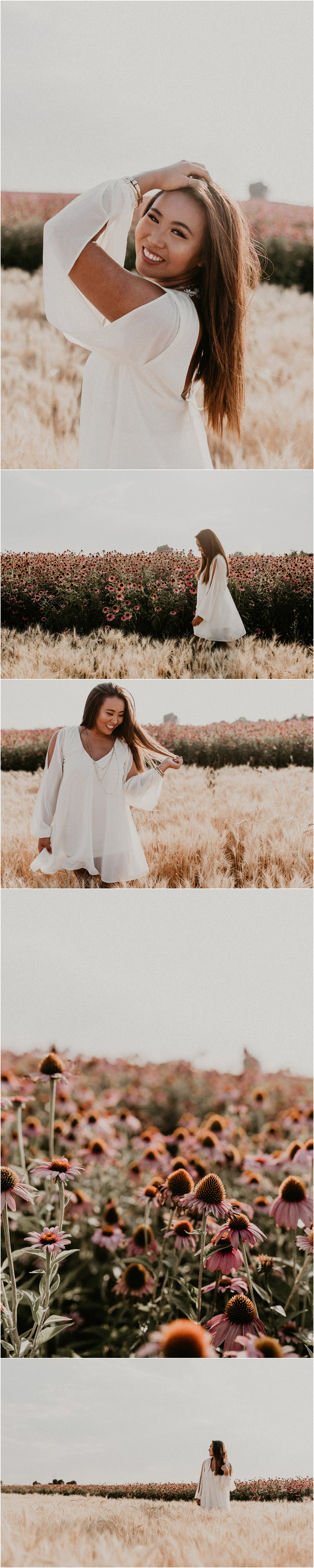 Boise Senior Photographer Makayla Madden Photography Wildflower Field Purple Boho Free Spirit Senior Pictures Gypsy Unique Fun Idaho Meridian Raw Real Free People Dress