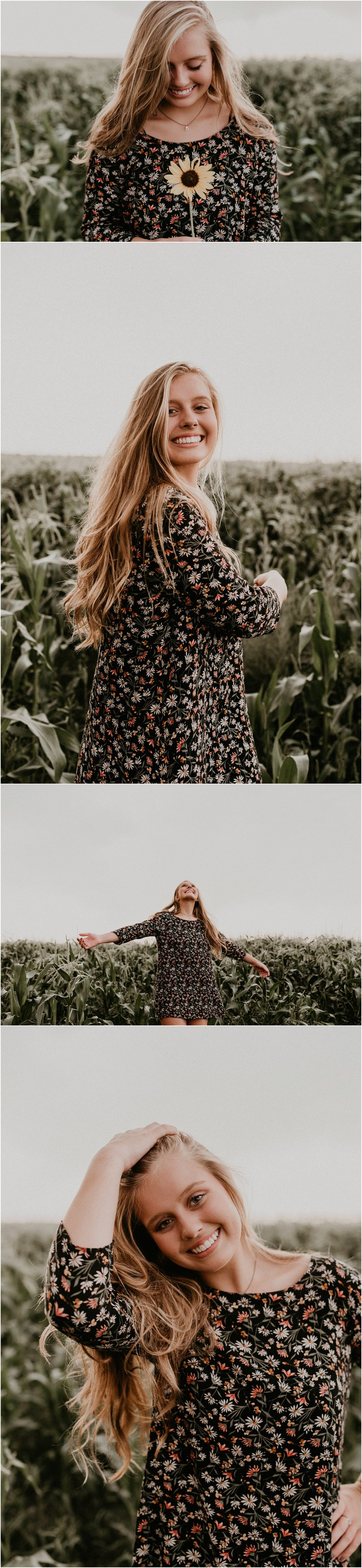 Boise Senior Photographer Idaho Summer Senior Pics Cornfield Linder Farms Floral Dress Flowers Makayla Madden Photography Laughter Dancing