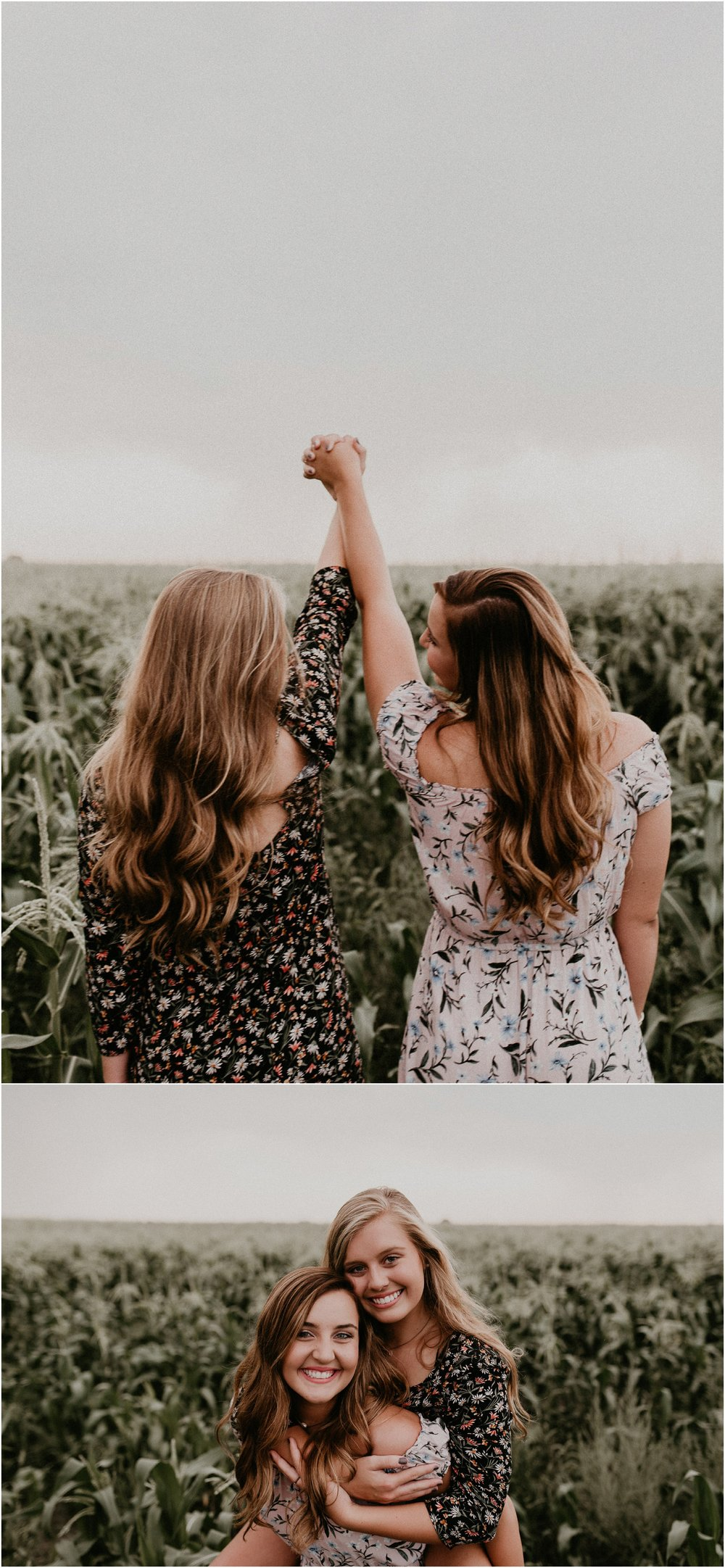 Boise Senior Photographer Idaho Summer Senior Pics Cornfield Linder Farms Floral Dress Flowers Sisters Love Family Pictures Makayla Madden Photography