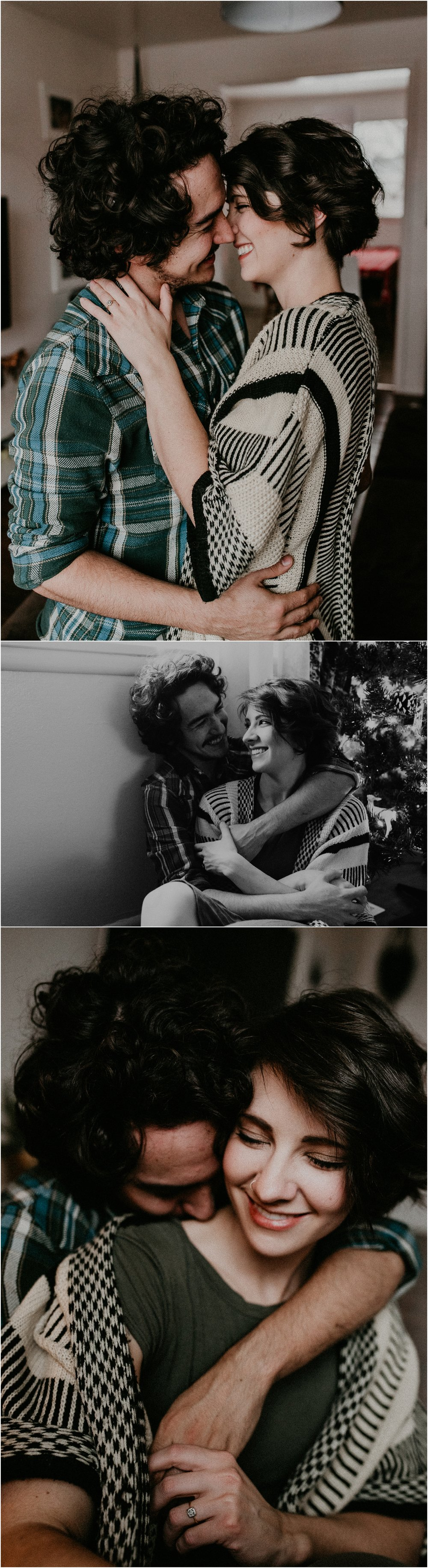 Boise Engagement Wedding Photographer Lifestyle Couples Session In home Dogs Christmas Winter Laughter Love