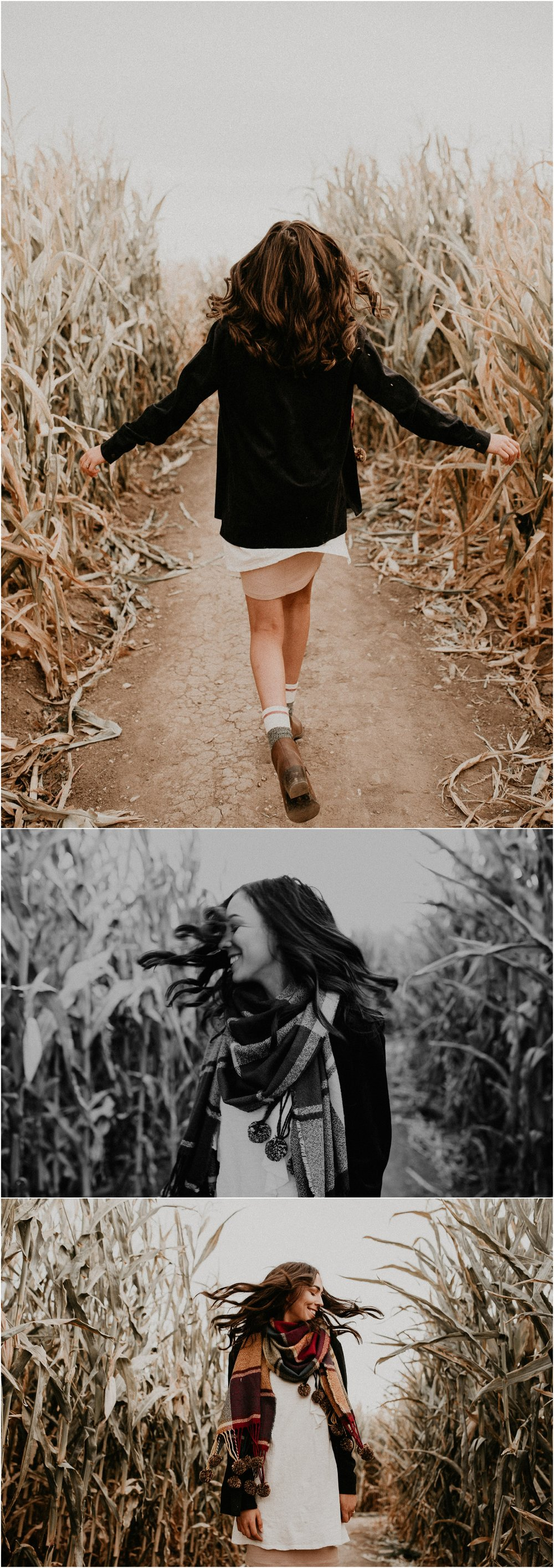 Boise Senior Boudoir Wedding Photographer Makayla Madden Photography Idaho Farmstead Corn Maze Fall Portrait Outfit Ideas Inspiration Plaid Scarf Pumpkin Patch Hair Flips Running