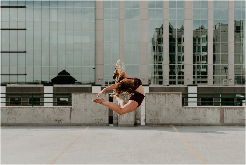 Makayla Madden Photography Boise Senior Photographer Senior Pictures Downtown Boise Mountain View Dancing Dance Inspiration Jump