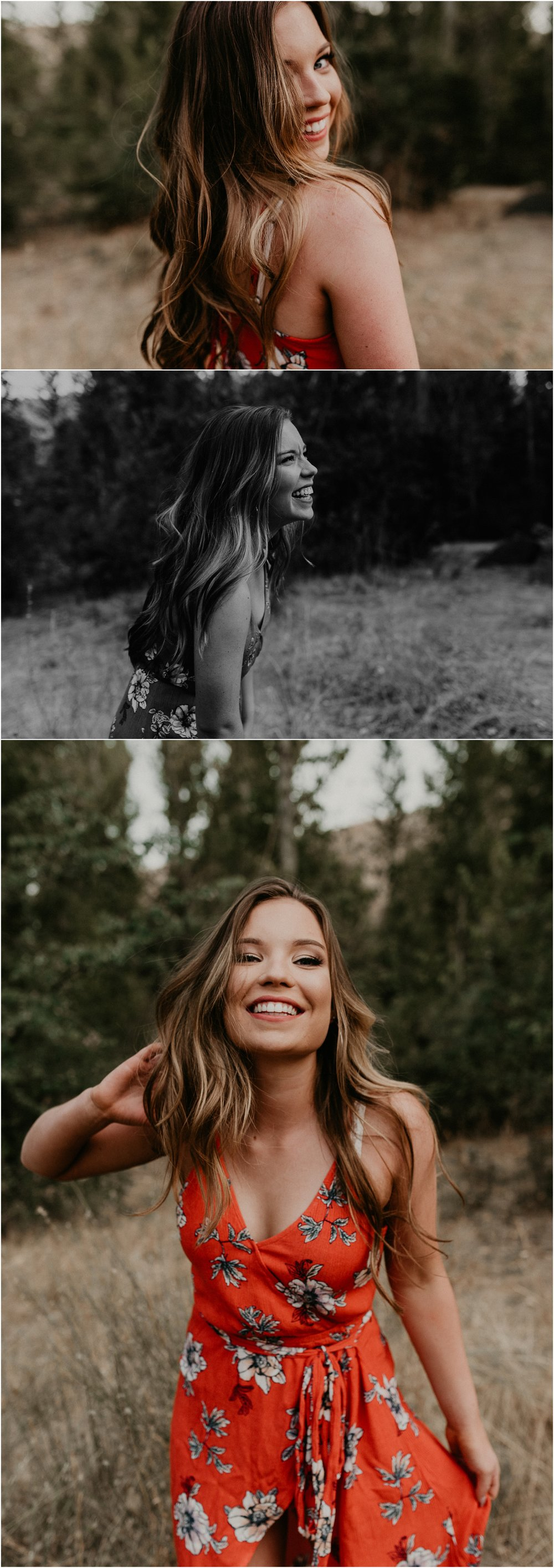 Makayla Madden Photography Boise Senior Photographer Fall Senior Pictures Floral Dress Military Reserve Dancing