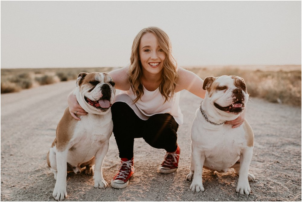 Boise Senior Photography Makayla Madden Photography Summer Senior Portraits Idaho Foothills Desert Road Converse Puppies Bulldogs
