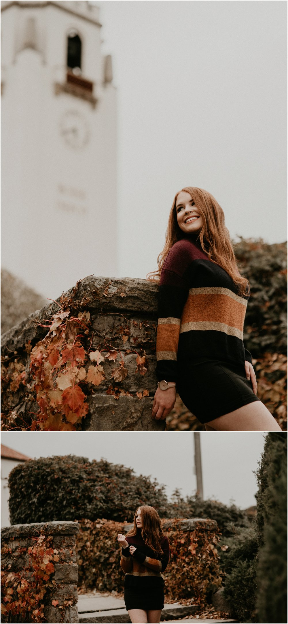 Boise Senior Photographer Makayla Madden Photography Eagle High Senior Harlee Edwards Red Head Fall Downtown Boise Senior Pics Idaho Train Depot Meridian Senior Photographer
