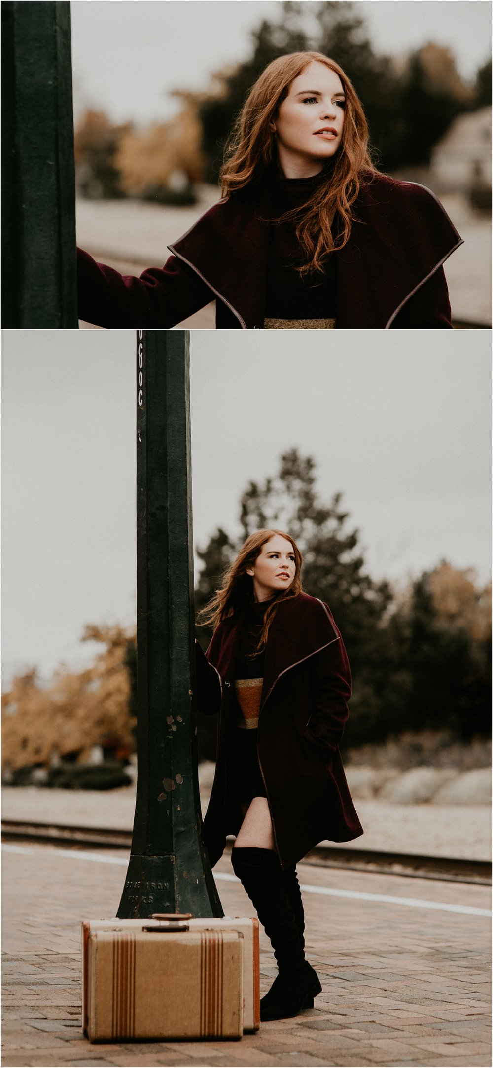 Boise Senior Photographer Makayla Madden Photography Eagle High Senior Harlee Edwards Red Head Fall Downtown Boise Senior Pics Idaho Train Depot Travel Lover Meridian Senior Photographer