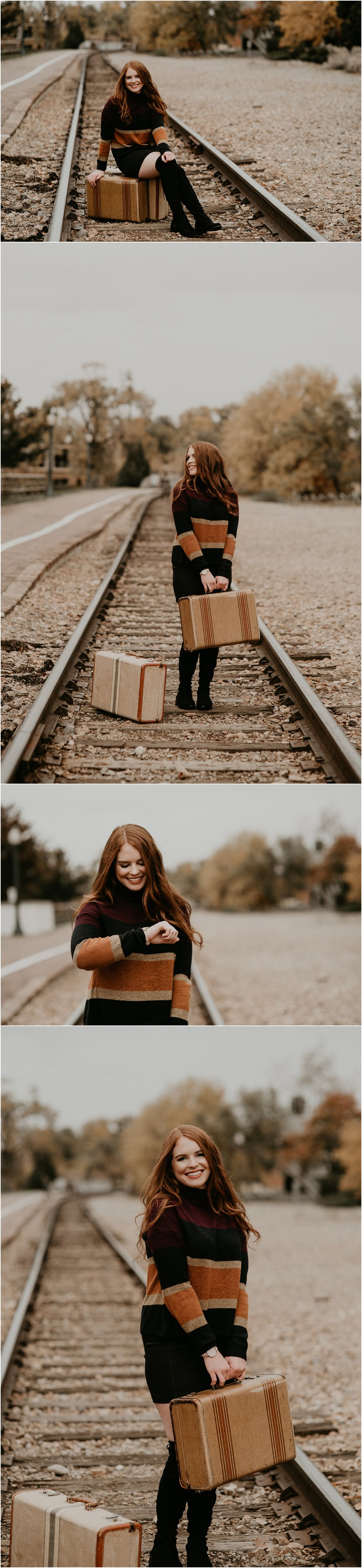 Boise Senior Photographer Makayla Madden Photography Eagle High Senior Harlee Edwards Red Head Fall Downtown Boise Senior Pics Idaho Train Depot Vintage Suitcase Travel Meridian Senior Photographer