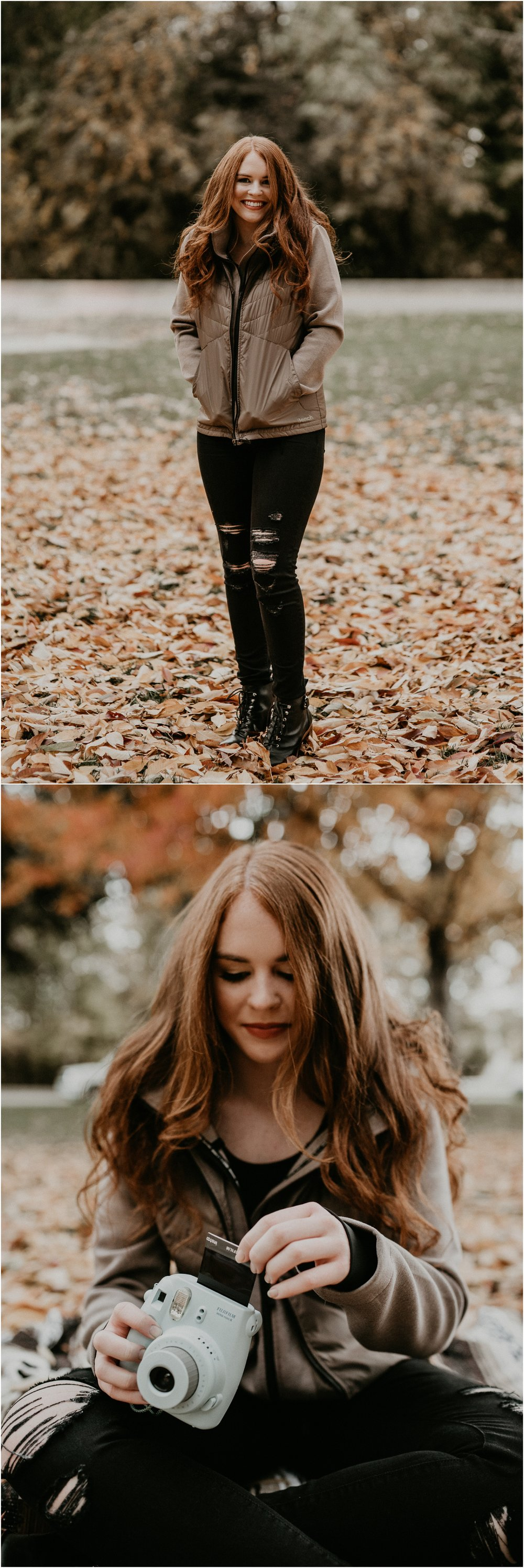 Boise Senior Photographer Makayla Madden Photography Eagle High Senior Harlee Edwards Red Head Fall Downtown Boise Senior Pics Meridian Senior Photographer Polaroids