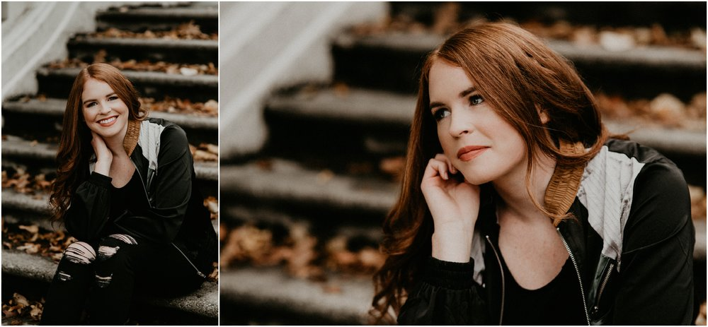 Boise Senior Photographer Makayla Madden Photography Eagle High Senior Harlee Edwards Red Head Fall Downtown Boise Senior Pics Meridian Senior Photographer