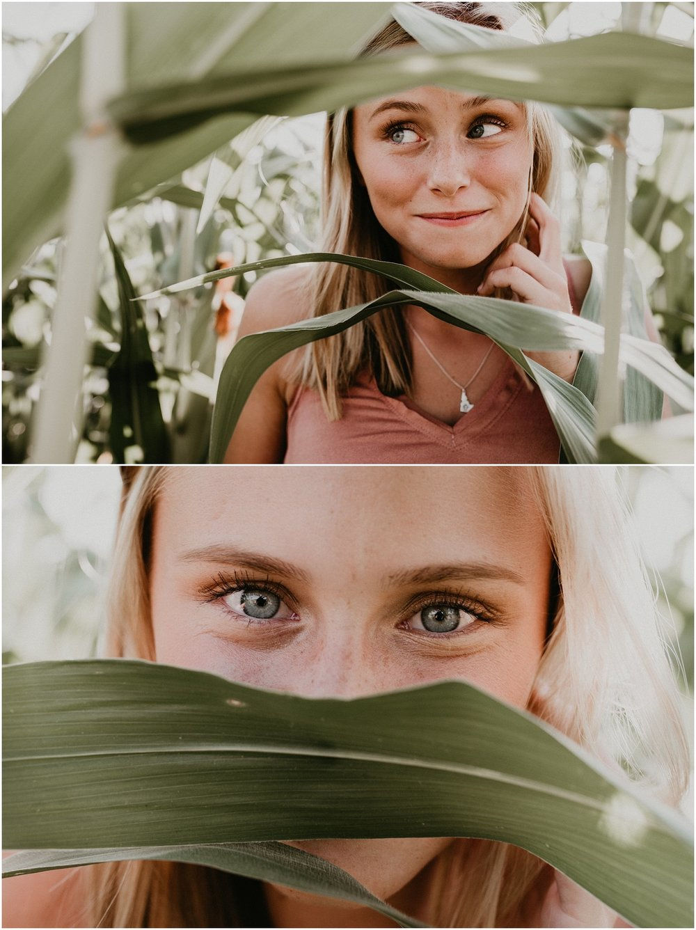 Boise Senior Photographer Makayla Madden Photography Corn Field Kuna Summer Senior Session Location Ideas Kuna High Brooke Ray Laughter Fun Eyes Unique