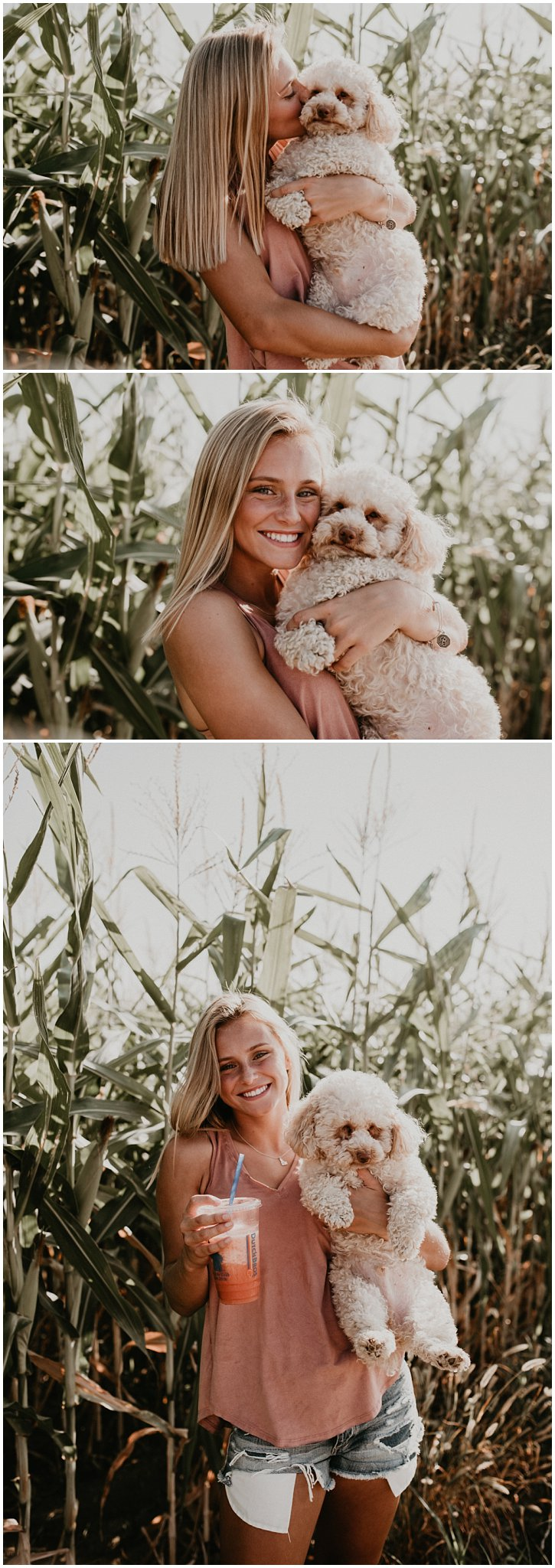 Boise Senior Photographer Makayla Madden Photography Corn Field Kuna Summer Senior Session Location Ideas Kuna High Brooke Ray Laughter Fun Eyes Unique Puppy Dog